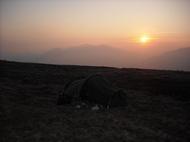 The Tent and Sunset over Snowdon.