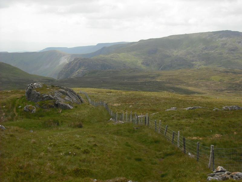Approaching the summit plateau of Aran Fawddwy