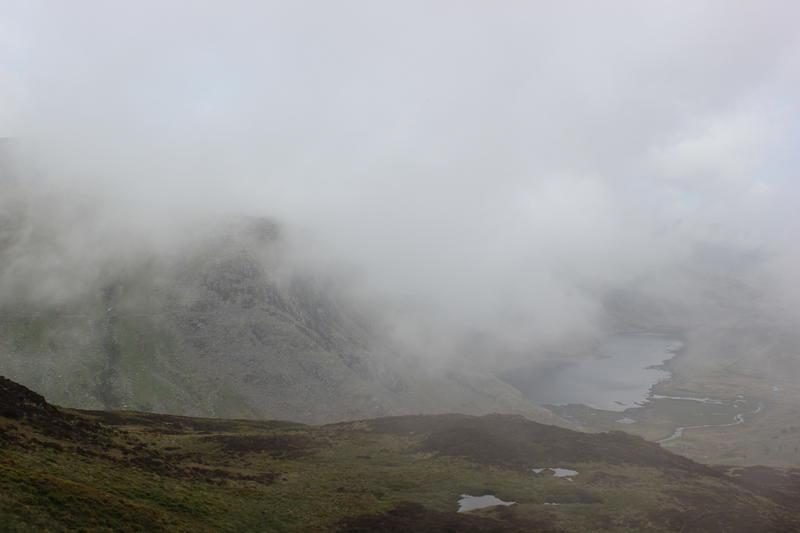Llyn Eigiau appears from the mist