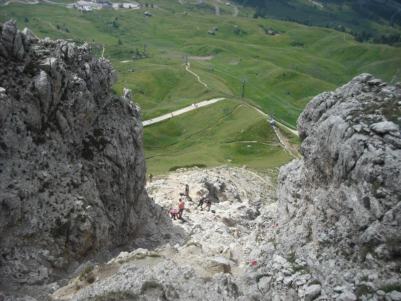 Looking down the gully at the start of the ferrata